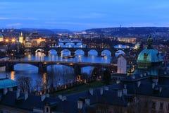 Winter Prague City with its Bridges above River Vltava after the Sunset, Czech Republic Royalty Free Stock Image