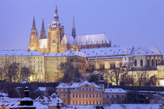 Winter in Prague - city panorama with St. Vitus Cathedral Royalty Free Stock Photos