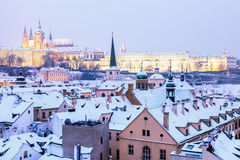Winter in Prague - city panorama with St. Vitus Cathedral Royalty Free Stock Image