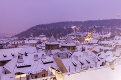 Winter in Prague - city panorama with St. Vitus Cathedral Royalty Free Stock Photography
