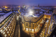 Winter in Prague - city panorama with Tyn Cathedral Stock Images