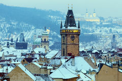 Winter in Prague - city panorama with Tyn Cathedral and Clock To Stock Photography