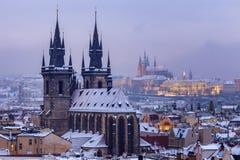 Winter in Prague - city panorama Stock Images