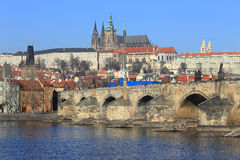 Winter Prague gothic Castle with Charles Bridge Royalty Free Stock Photos