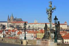 Winter Prague gothic Castle from Charles Bridge Royalty Free Stock Photo