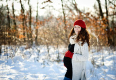 Winter Pregnancy Royalty Free Stock Images