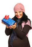Winter pregnant holding presents Royalty Free Stock Images