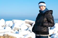 Winter pregnant woman portrait Stock Image