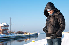 Winter pregnant woman portrait Stock Images