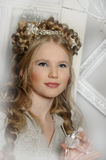 Winter Princess. Fairy: winter portrait of young girl Royalty Free Stock Photo