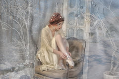 Winter Princess. Fairy: winter portrait of young women Royalty Free Stock Photo