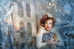 Winter Princess. Fairy: winter portrait of young women Royalty Free Stock Image