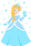Winter princess. Beautiful Winter Princess holds on a snowflake Royalty Free Stock Photo