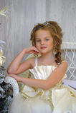 Winter princess at the Christmas tree Royalty Free Stock Image