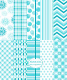 Seamless Background Patterns - Winter Prints. Seamless Background Patterns - Ice Blue Wintry Mix of Patterns Royalty Free Stock Photos