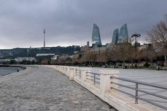 Winter promenade before the rain stock images