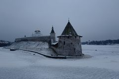 Winter Pskov. Flat tower. Pskov Krom the Kremlin built the end of the XI century - the beginning of the XII century. Pskov. Russia Royalty Free Stock Image