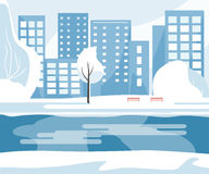 Winter Public Park. With trees, river, benches and city buildings in the background. Vector illustration flat design Royalty Free Stock Image