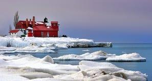 Winter am Punkt Betsie Leuchtturm, USA Stockfotos