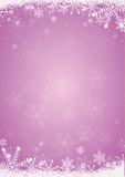 Winter purple christmas background with snowflake border Stock Images