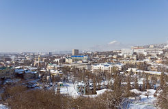 Winter Pyatigorsk. Pyatigorsk winter mountains in the background royalty free stock image