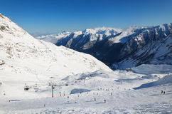 Winter Pyrenees with alpine ski slope. Royalty Free Stock Photography