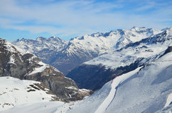 Winter Pyrenees with downhills Royalty Free Stock Photos