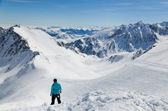 Winter Pyrenees from the pass of Tourmalet Royalty Free Stock Image