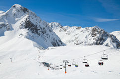Winter Pyrenees with a ski lift Stock Photography