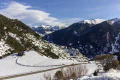 Winter pyrenes landscape near Roc Del Quer trekking trail, Village of Canillo. Principality of Andorra Stock Photography