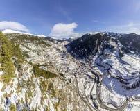 Winter pyrenes landscape near Roc Del Quer trekking trail, Village of Canillo. Principality of Andorra Stock Photos