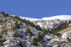 Winter pyrenes landscape near Village of Canillo. Andorra. Royalty Free Stock Photography