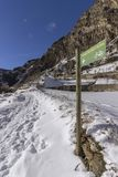 Winter pyrenes landscape near Village of Canillo, trekking and cycling trail. Principality of Andorra Stock Photo