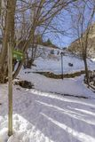 Winter pyrenes landscape near Village of Canillo, trekking and cycling trail. Stock Images