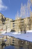 Winter pyrenes landscape near Village of Canillo, trekking and cycling trail. Royalty Free Stock Images