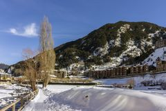 Winter pyrenes landscape near Village of Canillo, trekking and cycling trail. Principality of Andorra Stock Images