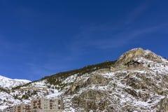 Winter pyrenes mountain landscape, Village of Canillo. Andorra. Stock Image