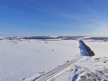 Winter quadcopter landscape. stock photos
