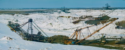 Winter in quarry. Royalty Free Stock Photography