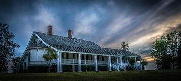 Winter Quarters sunset. Winter Quarters antebellum home at sunset, with a brooding sky that hints at some weather to come Royalty Free Stock Photo