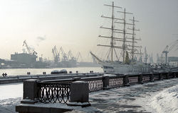 Winter quay Stock Image