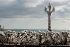 Winter quay of Yalta, Crimea Royalty Free Stock Photos