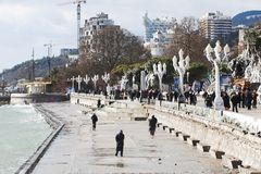 Winter quay of Yalta, Crimea Royalty Free Stock Images
