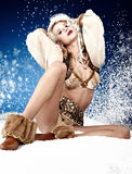 Winter queen. In snow scenery Royalty Free Stock Photo