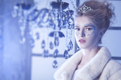 Winter Queen. Beautiful girl in winter Royalty Free Stock Images