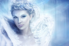 Winter Queen. Beautiful snow queen, looking at camera