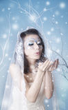 Winter queen blowing kisses. Conceptual portrait of winter queen blowing kisses during snowstorm Stock Photos