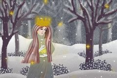 Winter Queen in a snowy wood Royalty Free Stock Photos
