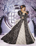 Winter Queen. Standing in the snow Stock Photo