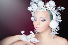 Winter Queen with white magical hairstyle Stock Image